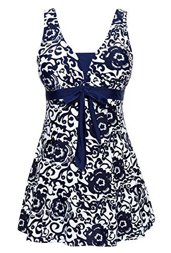 Summer Mae Damen Badekleid Geblümt Spa Badeanzug Strandkleid Baden Swimwear Marineblau (Einteiler)
