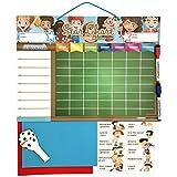 TABELLA DEI RINFORZI Magnetica Grande | Lavagna delle attività per bambini per parete o frigorifero, 43x32 cm. 12 attività, 2 pennarelli e un palloncino | Scatola da regalo - ideale come regalo per bambini e compleanni
