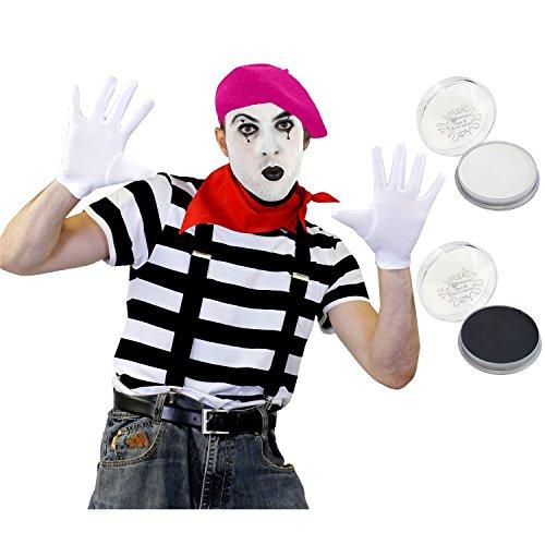 ILOVEFANCYDRESS Pantomime Mime Clown KOSTÜM VERKLEIDUNGS Set+ROSA Beret=STRASSENKÜNSTLER= BEINHALTET-T-Shirt+ Beret/Hut+Halstuch+Make UP+Schwarze HOSENTRÄGER+Weisse Handschuhe=XXLarge