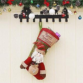 Lypumso Medias de Navidad, Calcetines de Papá Noel, Calcetines Colgantes, Decoración del árbol de Navidad, Calcetines de Regalo de Caramelo, Bordado Hecho a Mano no Tejido