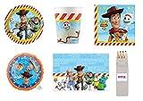 Party Store web by casa dolce casa Toy Story 4 Coordinato ADDOBBI TAVOLA Festa Woody E Buzz Lightyear - Kit n°27 CDC-(16 Piatti,16 Bicchieri,20 TOVAGLIOLI,1 TOVAGLIA, 1 Foil + Omaggio)