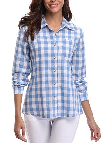 Miss Moly Damen Kariert Shirt Plaid Shirt Casual Oberteil Langarmshirt Blau/Weiß - L (Checked Hose Flanell)