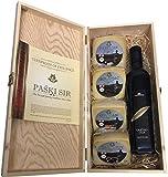 Geschenkbox mit Olivenöl kaltgepresst und 4 Sorten Pager Käse in Weinkisten Holz (Einweg)