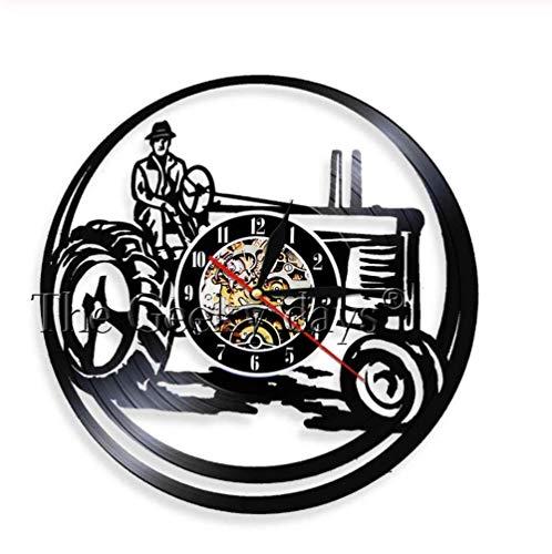 WJUNM Landwirt Auf Traktor LED leuchtet Bauernhof Personalisierte Wanduhr Vintage Vinyl Record Clock dekorative Uhr