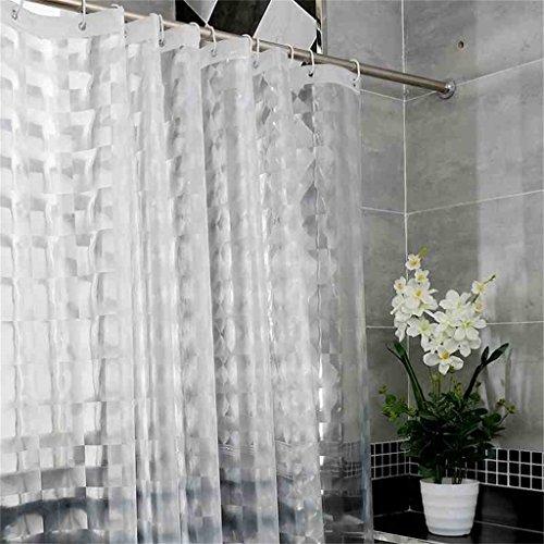 DACHUI Verdickung Duschvorhang, ausgezeichnete Extralange wasserdicht Mehltau Beweis EVA verdickte Badezimmer 3D-transparenten Duschvorhang Abgeschnitten - Kunststoff Aufhängering/Haken (Größe: 180cm*200cm)