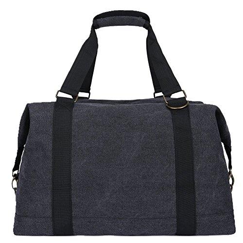 Weimi Vintage Groß Weekender Handgepäck Reisetasche Sporttasche für Damen Herren (schwarz)