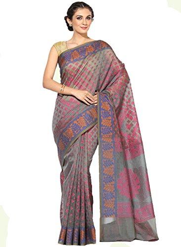 Banarasi Silk Works Supernet Cotton Saree With Blouse Piece(PTE113_Grey_Free Size)