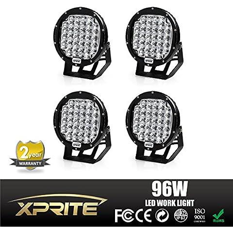 xprite 96W (CREE LED Niebla Foco y redondo lámpara de trabajo con techo barra parachoques (Pack de 4unidades,