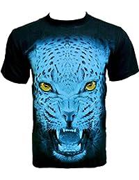 Rock Chang T-Shirt * Blue Cheetah * Glow In The Dark * Noir GR562