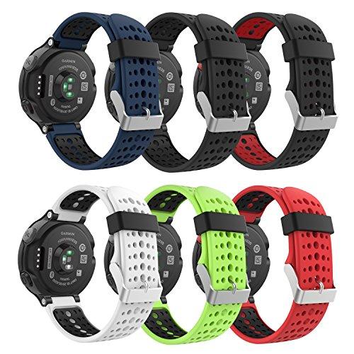MoKo Bande pour Garmin Forerunner 235, Bande de Montre de Rechange en Silicone Souple pour Garmin Forerunner 235/220/230/620/630/735 Smart Watch (Lot de 6), Coloré 6