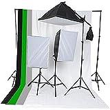 Etime Hintergrund Fotostudio Set + 3 x 135W Softbox Lampe Galgenstativ komplett Studio Set