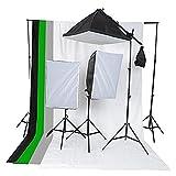 ETiME® Hintergrund Fotostudio Set + 3 x 135W Softbox Lampe Galgenstativ + 4X Hintergrundstoff Hintergrundsystem Komplett Studio Set