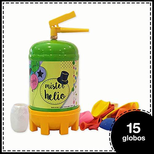 Botella de helio Mrhelio de 1,2 litros + 15 globos látex de colores+ cinta para atar los globos. Nuestra bombona de helio tiene una capacidad de 1,2 litros, Helio de la mejor calidad y al mejor precio. Con certificado de la CE y de la TÜV. Las bombon...