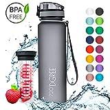 720°DGREE Trinkflasche 'uberBottle' - 1 Liter, 1000ml, Grau | Neuartige Tritan Wasser-Flasche | Water Bottle BPA...