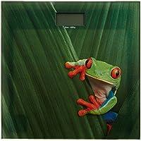 WENKO 21369100 Bilancia persone Rana - Display LCD, Vetr - Vetro temperato, Multicolore