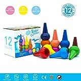 Wachsmalstifte für Kleinkinder, ungiftig, 12 Farben Abwaschbare Sichere Essbare Zeichenstift Buntstifte Finger-Handgriff-Stifte, Buntstifte Stapelbares Spielzeug für Babys, Kleinkinder und Kinder