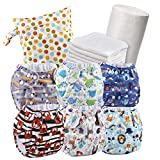 Set of 6 Reusable Nappies - Washable Cloth Nappies + 6 Washable Bamboo Nappy Inserts + 1 Roll of 100 Bamboo Flushable Nappy Liners + Free Wet Bag - Non-Disposable Nappies - 100% Eco Friendly Nappies