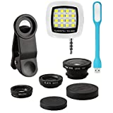 Raptas Portable Mobile Kit with Camera Lens, USB LED Light and 3.5mm Selfie Flash for Smartphones (Multicolour)