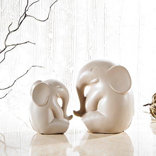 Set de 2tazas de porcelana elefante figuras, purelifestyle, escultura, Estatua de par...
