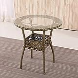 HQCC Casual Couchtisch Mini Kleinen Rattan Tisch, Outdoor Wohnzimmer Couchtisch, (Dunkelbraun 60 Durchmesser 61 Höhe cm) (Farbe : Brown)