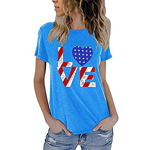 Cooljun American Flag T-Shirts 4. Juli Frauen modische lose amerikanische Flagge Kurzarm bedruckte T-Shirt Top Bluse -