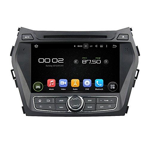20,3cm Android Auto DVD Player mit GPS-Navigation 3G/WIFI/BT, USB/SD AUX, Support Kamera, Lenkradfernbedienung, Audio Radio Stereo, Car Multimedia Haupteinheit für Hyundai IX45/Santa Fe 2013-2014