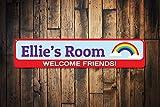 Rainbow Welcome Friends Schild, Persönlichen Kid Name Schlafzimmer Zeichen, Custom Kinder Room Decor, Metall Spielzimmer, Metall Schild, 10,2x 45,7cm
