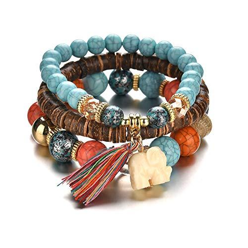 Sisit Ballade 3 stücke Perlen Armband Schmuck Frauen Männer Kristall Charme Armbänder Mehrschichtige Armreifen Candy Farbe (Ballade De Männer)