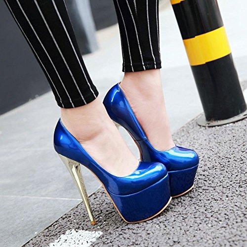 MissSaSa Donna Scarpe col Molto Alto Tacco Sexy e Spicco Blue