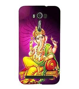 FUSON Lord Ganesha On Sinhasan 3D Hard Polycarbonate Designer Back Case Cover for Asus Zenfone 2 Laser ZE601KL (6 Inches)