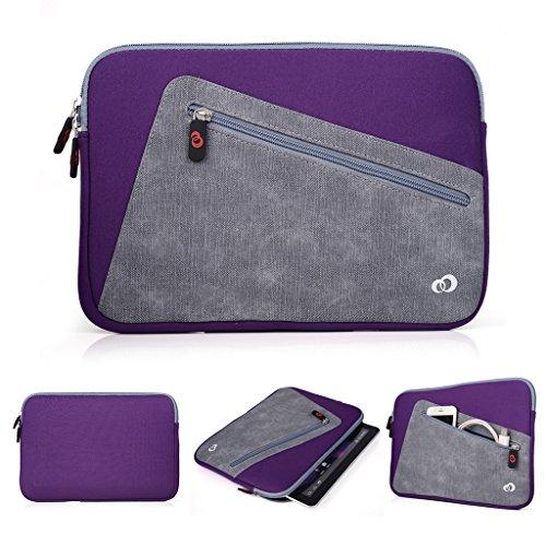 Kroo Tablet-Schutzhülle aus Neopren/Sleeve für Allview Viva H1001LTE. Vorne Reißverschluss Tasche für speicherbedarf violett Purple and Grey