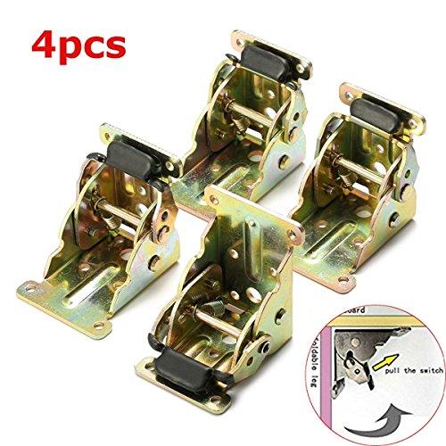KUNSE 4Pcs, Die Selbst Faltung Sperren, Tisch Bett Bein Klammern Eisen Erweiterung Füße Klammern -