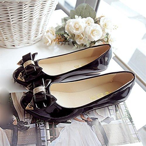 Printemps Toe talon plat Chaussures à lacets, Femmes Mode Chaussures plates Noir