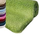Badematte | Kuscheliger Hochflor | Rutschfester Badvorleger | Viele Größen | Zum Set Kombinierbar | Öko-Tex 100 Zertifiziert | 60x100 cm | Apple Green (Grün)