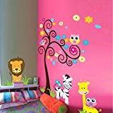 Syga Colorful World Of Animals Wall Sticker (Wall Covering Area: 90cm X 120cm) …