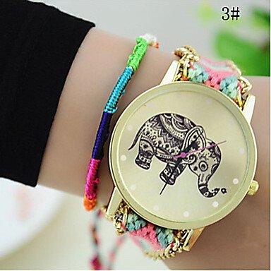 XKC-watches Relojes de Mujer, Las Mujeres de Moda Chica Hecha a Mano Tejida Reloj quarzt de línea Pulsera Trenzada Elefante (Color : # 3, Género : para Mujer)