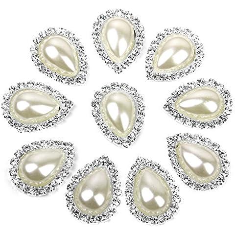 10pcs Cristallo A Goccia Beige Pulsante Di Perle Finte Flatback Abbellimento 20 Millimetri X 25mm