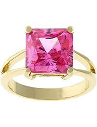 Bague solitaire Bague plaquée or 18k avec zirconia coupe princesse couleur rosé dans une finition dorée brillante
