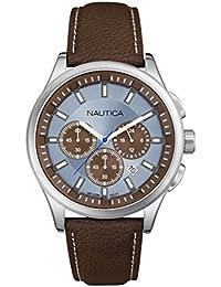 Nautica  - Reloj de cuarzo para hombre, correa de cuero color marrón