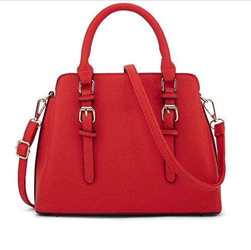 LDMB Damen-handtaschen Frauen PU-lederner einfacher großer Kapazitäts-Schulter-Kurier-Handtaschen-feste Farben-justierbare Tote-Beutel Abnehmbare Crossbody Tasche Red