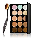 LyDia� 15 Nude Colours Cream Concealer/Highlight/Face Contour Camouflage Palette Dull/Redness Skin/Black Circle kit set #1 + LyDia� Professional Oral Toothbrush Shaped Black Face/Eye/Body Cosmetic Foundation/Concealer/Blush/Blusher/Contour/Bronzer/Powder/Eyeshadow Buffer Makeup Brush