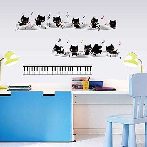 Gatos Música Notas símbolos teclas de Piano pared adhesivo de papel para Home de Vinilo extraíble vinilo de pared para salón o dormitorio PVC Murales de arte imagen impermeable DIY Stick para adultos adolescentes Childres Kids Nursery Baby + 3d rana coche