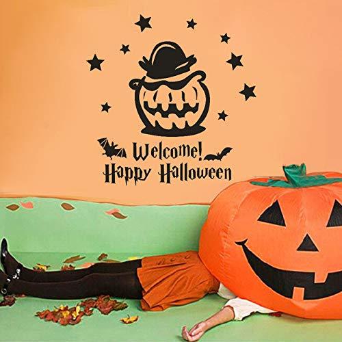YUXAN Wandaufkleber Happy Halloween Hexe Fledermäuse Fenster Abziehbild Schlafzimmer Dekoration DIY 45X45Cm (Patrol-happy Paw Halloween)