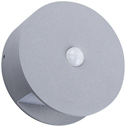 Smartwares LED Design Außenwandleuchte kabellos und Batteriebetrieben mit Bewegungsmelder, 60 Lumen Aluminium 0.5 W, Grau 9,6 x 9,6 x 4 cm