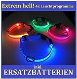 FARBIG LED Halsband / Hundehalsband / Leuchthalsband - Farben: ** ORANGE ** GRÜN ** PINK ** ROT ** --- ALLE GRÖSSEN - XS, S , M , L --- !!! ACHTUNG !!! BITTE teilen Sie uns nach dem Kauf per email über Amazon die gewünschte FARBE UND GRÖSSE mit!