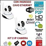 Kit 2télécaméras IP Wifi HD 720P motorisée infrarouge avec Application YOOSEE