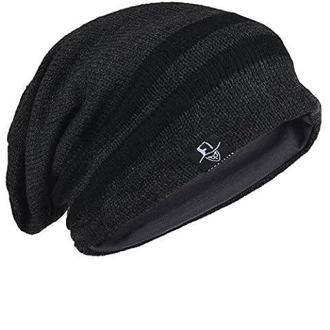 Chic Men Baggy Beanie Slouchy Knit Skull Cap Hat (B318-Dark Grey)