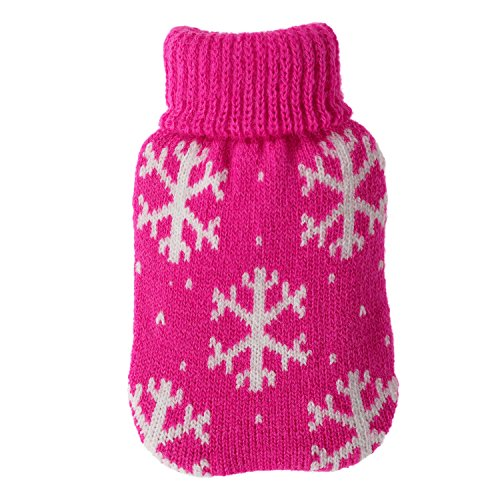 Taschenwärmer + Strickbezug - Flocken - Wärmflasche Handwärmer Wärmepad Firebag, Farbe:Pink