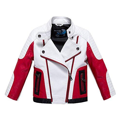 Budermmy Jungen Leder Motorrad Pilot Jacken Kleinkind Mäntel Weiß Größe 12 Jahre (Jungen Jacken Größe Winter 12 In)