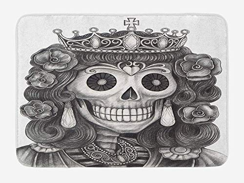Trsdshorts Queen Bath Mat, Day of The Dead Artwork Hand Drawing Folk Skull with Flowers Crown Ornaments, Plush Bathroom Decor Mat with Non Slip Backing, 23.6 x 15.7 Inches, Black and White